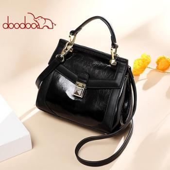 doodoo手提包包女新款韩版时尚简约斜挎包百搭单肩包漆皮小包D8215