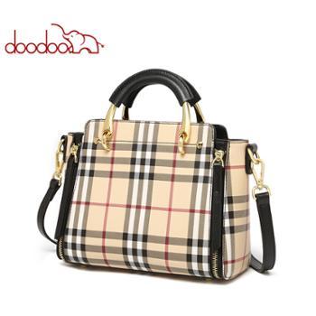 doodoo女士包时尚复古手提包单肩包格纹大容量包包D9717