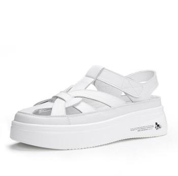 三个儿子夏季透气休闲百搭罗马凉鞋女浅口平底真皮小白鞋