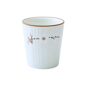 【三个装】玉瓷白梅日式和风陶瓷杯子酒店客厅茶杯马克杯高茶杯功夫茶杯水杯