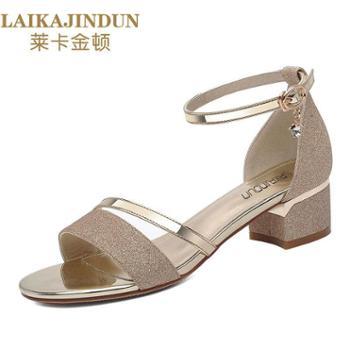 凉鞋女夏新款露趾中跟粗跟一字带凉拖鞋韩版百搭时尚外穿凉鞋6303