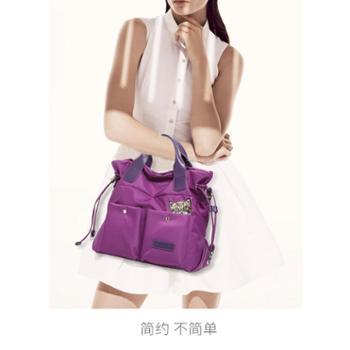 2017女士休闲手提包斜挎单肩中年牛津布尼龙帆布手拎欧美多袋纯色