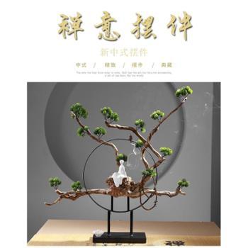 禅意中式玄关摆件风化枯木创意根雕艺术客厅电视柜装饰品软装摆设
