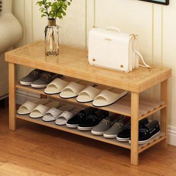 兴和家缘鞋架简易家用省空间经济型实木可坐门厅鞋柜鞋架换鞋凳