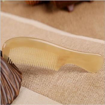 华颖角梳精品羊角17圆柄梳子便携牛角大柄梳子美发角梳
