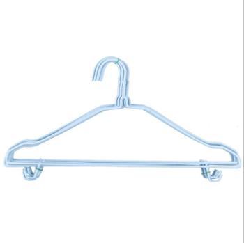 宝斯924粗款金属浸塑晾衣架带钩扭花衣架20个