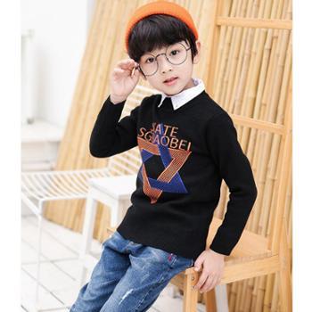 百旅Bailv秋款男童星星图案针织衫