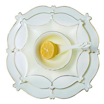 欧式陶瓷餐具套装家用碗碟碗盘奢华浮雕象牙瓷手工描金