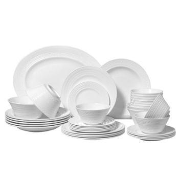 浮雕骨瓷36头餐具套装纯白中式碗盘白色餐具套装