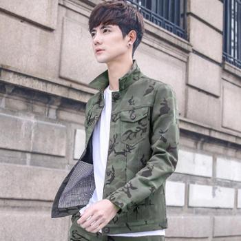 RosRobins男士棒球服韩版潮流青年迷彩夹克春秋休闲黑色外套男9832