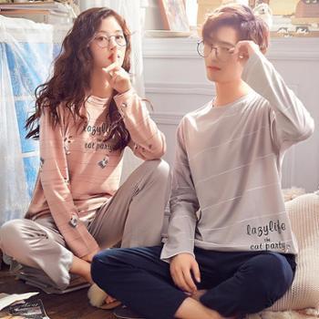 RosRobins 新品韩版睡衣秋冬情侣棉质套装学生可爱卡通圆领长袖家居服6113