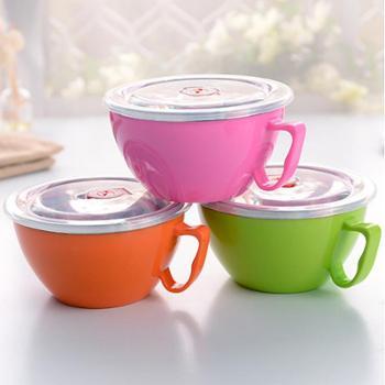 创意不锈钢泡面碗 韩式双层隔热方便面碗成人带盖防烫保温保鲜盒