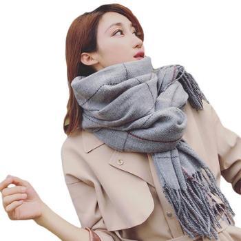 韩版秋冬季格子加长保暖围巾女仿羊绒两用大披肩双面百搭学生围脖