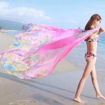 韩版丝巾女夏长款印花百搭空调披肩夏季海边防晒沙滩巾雪纺围巾新