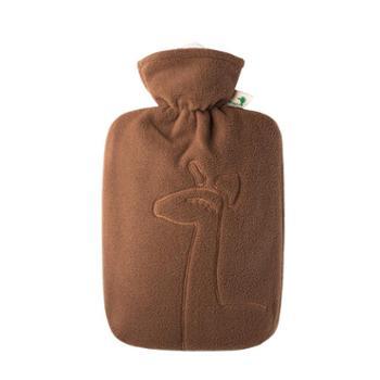 HUGOFROSCH德国原装进口双面绒微笑羊驼注水热水袋安全防爆加厚防烫PVC充水暖水袋