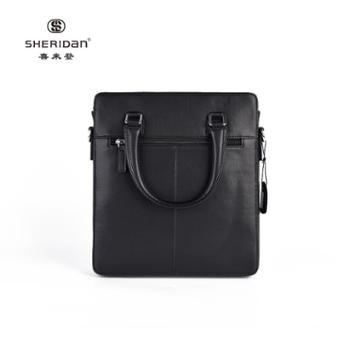 Sheridan喜来登头层牛皮商务男士黑色时尚手提包公文包