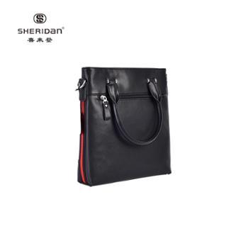 Sheridan喜来登头层牛皮商务男士黑色时尚手提包NL171235S