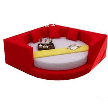 圆床圆形软床现代皮床双人床榻榻米主题宾馆婚床方圆简约木布艺床