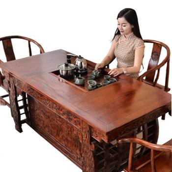 功夫茶桌椅组合榆木泡茶几实木仿古茶艺桌USB充电茶台