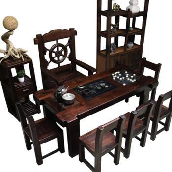 船木茶桌现代新中式实木茶桌椅组合全实木茶几功夫茶台原生态家具