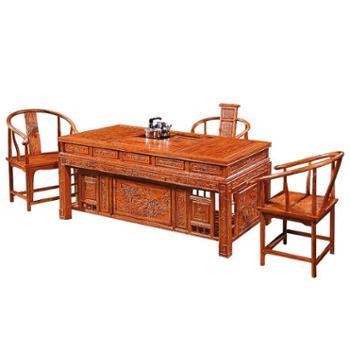 实木茶桌椅组合功夫茶几客厅仿古中式宰相南榆木泡茶台喝茶艺桌