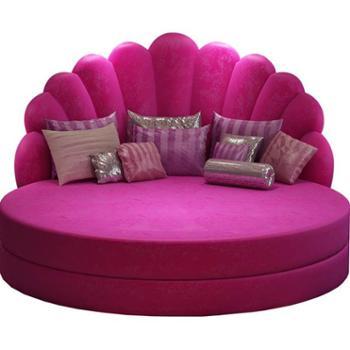 欧式大圆床双人床婚床现代简约布艺床软体床多功能公主床情侣床