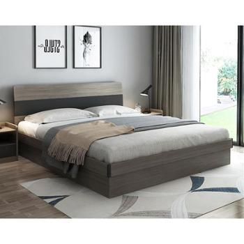 床 北欧简约双人床高箱储物床布艺软靠床婚床 雅致 高箱床带床头 两款可选
