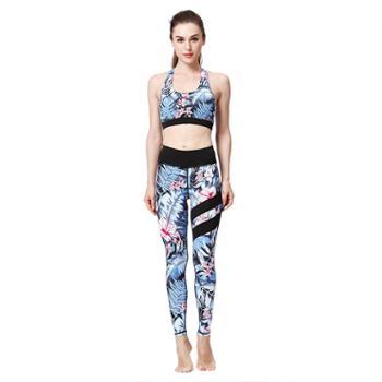 派衣阁瑜伽服女健身两件套装印花速干运动文胸紧身裤TH1024
