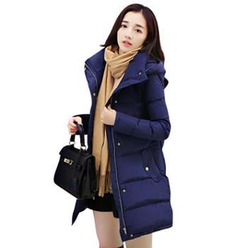 沫沫依莉新款中长款棉衣外套冬季时尚百搭连帽长袖纯色棉服YJZY813