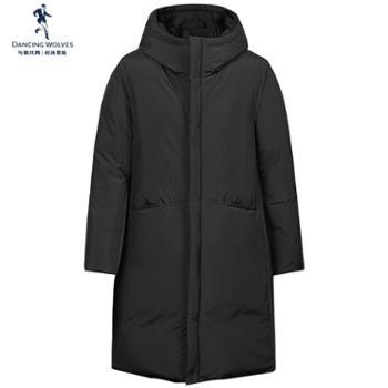 与狼共舞羽绒服男士中长款2019冬季韩版加厚连帽男装潮流外套