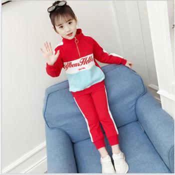 女童套装春装新款韩版中大童运动套装儿童卫衣两件套