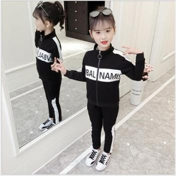 童装春季新款女童套装洋气拼色两件套