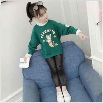 韩版中大童荷叶花边领衬衫卡通印花衬衣女儿童卫衣