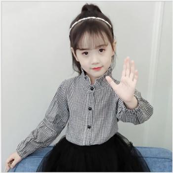 女童格子衬衫春秋款中大童韩版时尚立领儿童衬衣