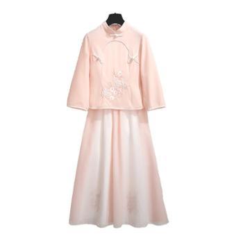 汉服民国风改良唐装女连衣裙棉麻古风气质女装旗袍夏装上衣