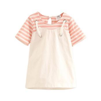 宝宝假两件背带裙夏装新款女童童装儿童条纹裙子
