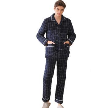 菲蜜莉珊瑚绒睡衣男冬季国民领简约三层夹棉加厚保暖休闲家居服套装
