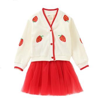 漫露可女童开衫毛衣套装韩版中大童针织连衣裙针织衫两件套
