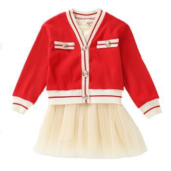漫露可女童开衫毛衣套装新款韩版中大童儿童小香风连衣裙两件套
