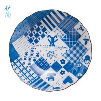 伊陶 日式餐具陶瓷汤饭面碗米粥碗菜盘复古家用大小碗盘/个