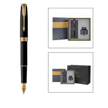 派克卓尔磨砂黑杆金夹墨水笔+派克墨水礼盒