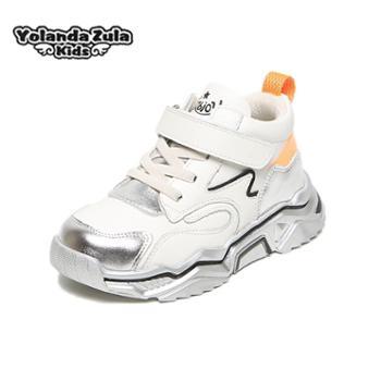 Yolanda zula男童鞋亲子款秋冬中大童加绒保暖户外儿童棉鞋2-15岁有大码