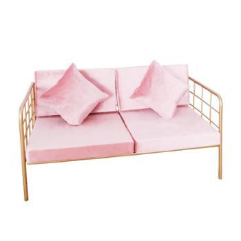 北欧loft铁艺沙发椅工业风休闲咖啡厅奶茶店卡座沙发粉色网红家具