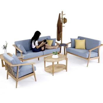 北欧简约实木沙发组合可拆洗单双三人位榉木原木家具布艺沙发