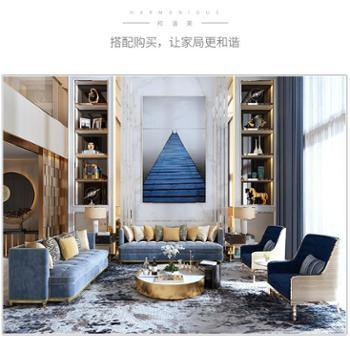 现代简约美式轻奢风家具大户型客厅组合整装三人位布艺沙发