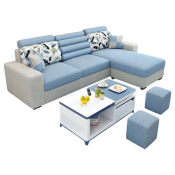 简约现代布艺沙发小户型组合客厅家具整装可拆洗转角三人位沙发