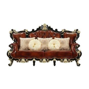 欧式真皮沙发新美式实木黑檀色油蜡皮客厅123组合新古典轻奢家具
