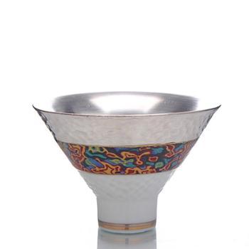 新品99鎏银斗笠茶杯 主人杯个人品茗杯子 陶瓷茶具纯银杯