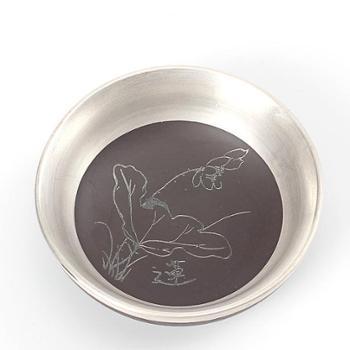 纯银 手工紫砂品茗茶杯 陶瓷鎏银茶具主人杯