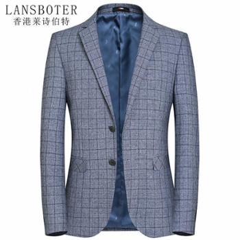 莱诗伯特男式休闲西装韩版青年修身格纹小西装男西服